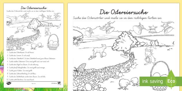 Ostern Suchbild Arbeitsblatt: Lesen und Malen - Ostern