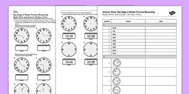 KS2 Reasoning Test Practice: Read, Write and Convert 24-Hour Times Romanian Translation - ks2, key stage 2, maths, assessments, assess, tests, practise, problem-solving, time, hour, 24, minute, clock, clocks, romania, eal, translated, bilingual