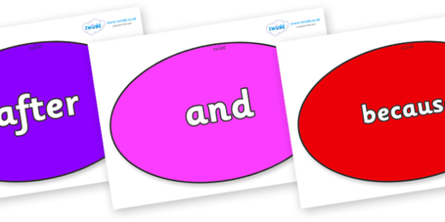 Connectives on Ovals - Connectives, VCOP, connective resources, connectives display words, connective displays