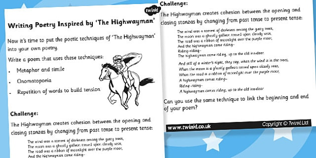 Writing Poetry Inspired by The Highwayman - poem, literacy, read