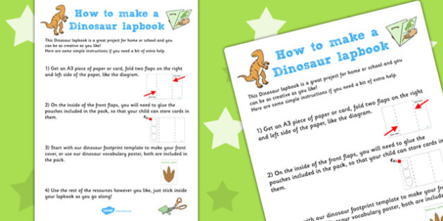 Dinosaur Lapbook Instructions - lapbooks, instructions, dinosaur