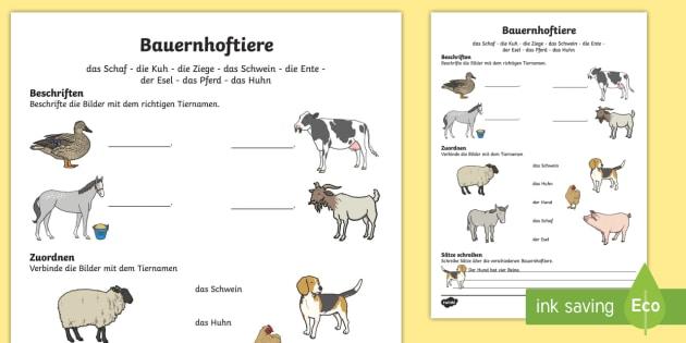 Bauernhoftiere Arbeitsblatt - spring, farm, animals, sheep