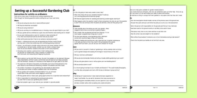 Elderly Care Gardening Club Instructions - Elderly, Reminiscence, Care Homes, Gardening Club
