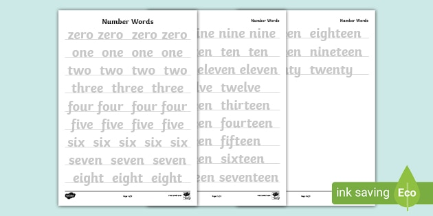 Number Words 0-20 Tracing Worksheets (teacher Made)