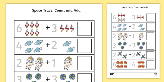 Space Trace Count and Add Worksheet - Worksheets, Numbers, Maths