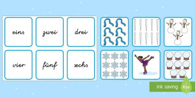 Winter: Bilder und Zahlwörter Puzzle 1 bis 10 Spiel - Zahlen, Zahlwörter, 1 bis 10, Numerale