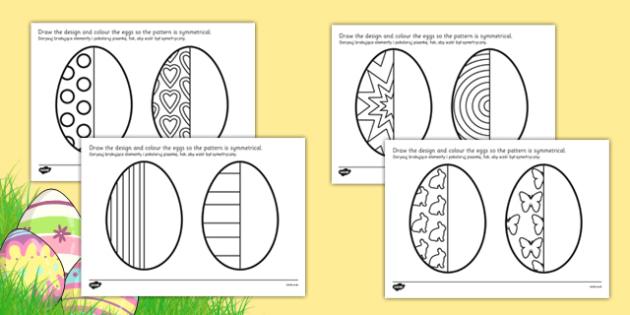 Easter Egg Symmetry Sheets Polish Translation - polish, symmetry, sheets, symmetry sheets, easter egg, symmetry activity, easter egg symmetry, easter symmetry, reflection, creating symmetry, numeracy, math, shapes, symmetry activity