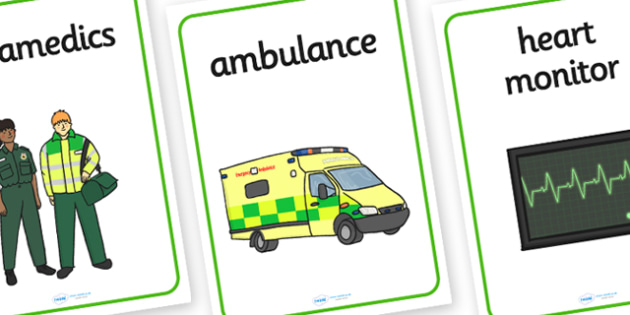 Paramedics Display Posters - Paramedics Role Play, paramedic, paramedic resources, ambulance, ambulance man, emergency, accident, injury, people who help us, role play, display, poster