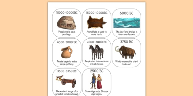 Stone Age Timeline Ordering Activity - time line, order, history