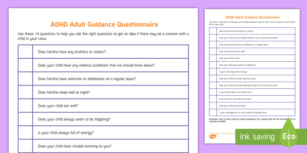 Adhd And Special Education >> Adhd Questionnaire Adult Guidance Adhd Special Education Adult