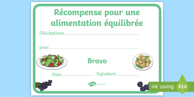 Récompense pour la n utrition saine Healthy Eating Award Certificates French - french, healthy, healthy eating, certificate, award, fruit, vegetable, healthy snack, snack time, snack, food
