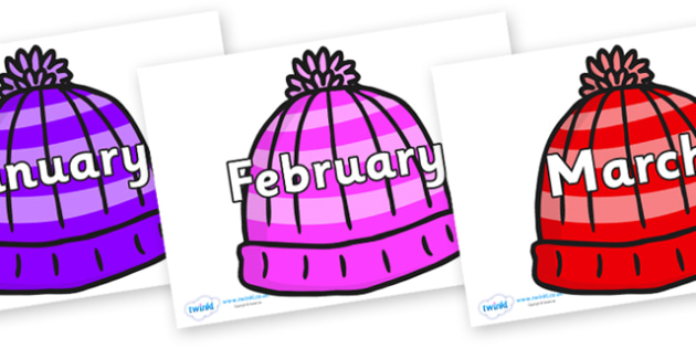 Months of the Year on Woolly Hats - Months of the Year, Months poster, Months display, display, poster, frieze, Months, month, January, February, March, April, May, June, July, August, September