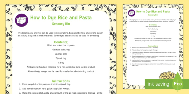 Recipe for How to Dye Pasta and Rice Bright Colours - sensory, craft, tuff tray, tuff spot, coloured, dried pasta, colour