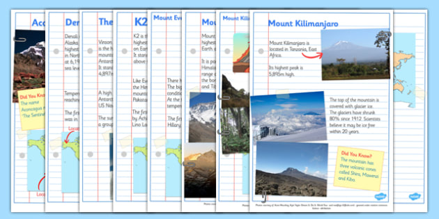Mountains of the World Fact Sheets - mountains, mountains of the world, mountain, world, fact sheets, facts, fact pages, did you know, Asia, The Himalayans, Mount Everest, The Kilimanjaro, Africa, The Vinson Massif, K2, Mount McKinley, Canada, Aconca