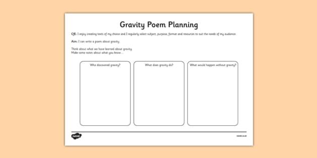 Gravity Poem Planning Worksheet - CfE, writing, poetry, poem, gravity, Isaac Newton