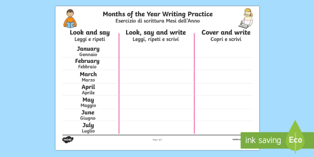 months of the year writing practice worksheet activity sheet. Black Bedroom Furniture Sets. Home Design Ideas
