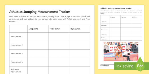 athletics jumping measurement tracker worksheet worksheet athlete. Black Bedroom Furniture Sets. Home Design Ideas