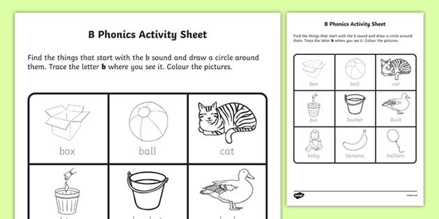 B Phonics Worksheet Worksheet Irish Worksheet