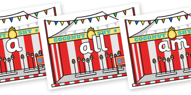 Foundation Stage 2 Keywords on Fairground Coconut Stands - FS2, CLL, keywords, Communication language and literacy,  Display, Key words, high frequency words, foundation stage literacy, DfES Letters and Sounds, Letters and Sounds, spelling