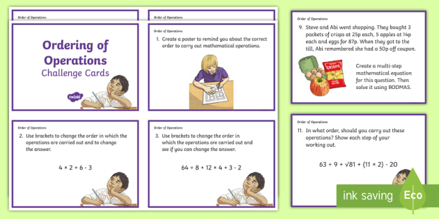 CfE Second Level Order of Operations Challenge Cards