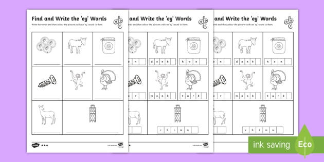 Ey Words Differentiated Activity Sheets Teacher Made