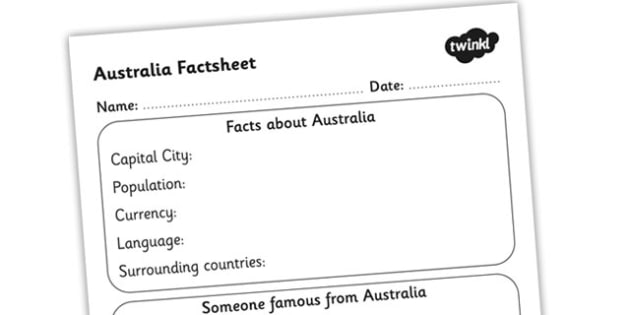 Australia Factsheet Writing Template - australia, writing, facts