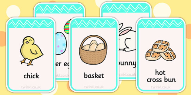 Easter Flashcards - easter, religion, RE, visual aids, word cards