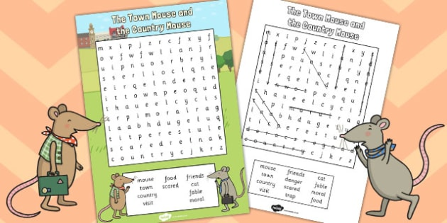 The Town Mouse and the Country Mouse Wordsearch - wordsearch