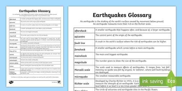 KS2 Earthquakes Glossary Activity teacher made
