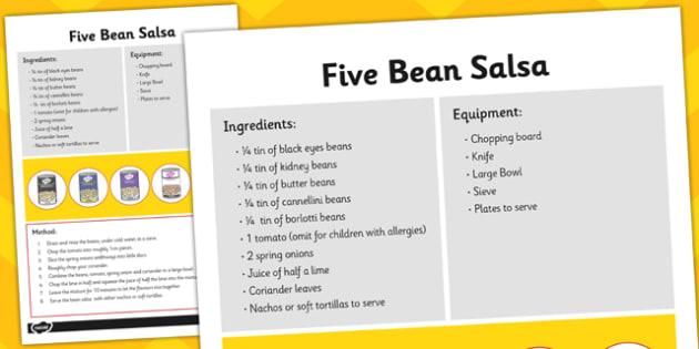 Recipe Card Five Bean Salsa - recipe card, five bean salsa, salsa