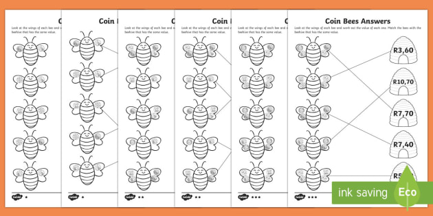 free coin bees matching differentiated worksheet worksheets coins. Black Bedroom Furniture Sets. Home Design Ideas