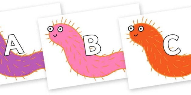 A-Z Alphabet on Bristle Worm to Support Teaching on Sharing a Shell - A-Z, A4, display, Alphabet frieze, Display letters, Letter posters, A-Z letters, Alphabet flashcards