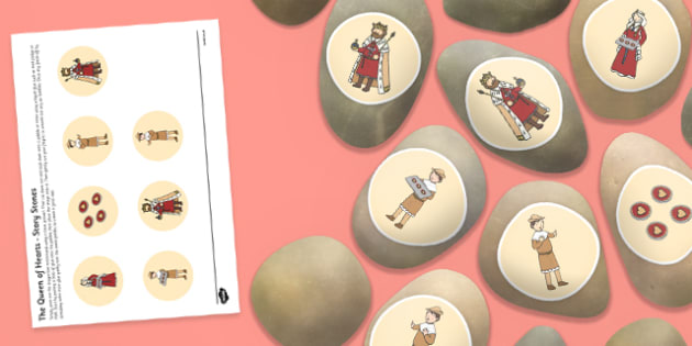 The Queen of Hearts Story Stones Image Cut-Outs - Story stones, stone art, painted rocks, Nursery Rhymes, song.