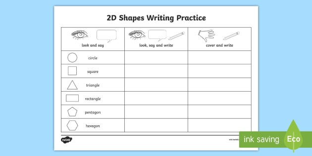 2D Shapes Writing Practice Worksheet - 2d shapes, writing, practice, worksheet, 2d, shape