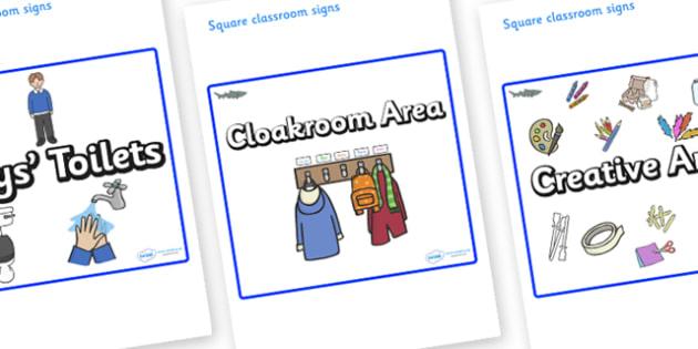 Shark Themed Editable Square Classroom Area Signs (Plain) - Themed Classroom Area Signs, KS1, Banner, Foundation Stage Area Signs, Classroom labels, Area labels, Area Signs, Classroom Areas, Poster, Display, Areas
