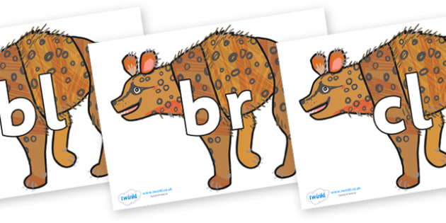 Initial Letter Blends on Hyena to Support Teaching on The Bad Tempered Ladybird - Initial Letters, initial letter, letter blend, letter blends, consonant, consonants, digraph, trigraph, literacy, alphabet, letters, foundation stage literacy