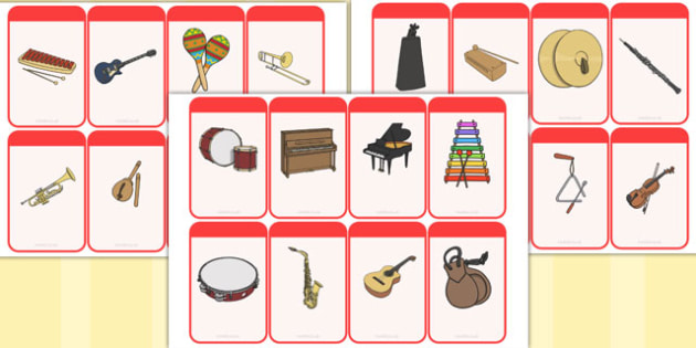 Musical Instrument Flashcards (Image Only) - Music, instrument, action, word card, flashcard, word cards, playing instruments, piano, drums, guitar, recorder, violin, triangle, cymbals, notes, music