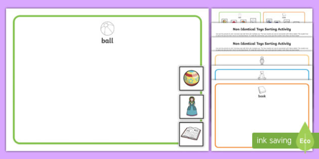 Workstation Pack: Non Identical Toys Sorting Activity Pack
