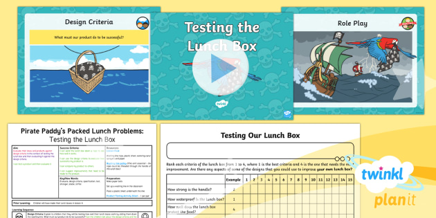 D&T: Pirate Paddy's Packed Lunch Problems: Testing the Lunch Box KS1 Lesson Pack 5