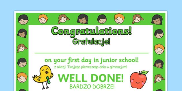 First Day Award Certificates Junior School Polish Translation - polish, First Day, First Day Award Certificate, Junior School, First Day Certificate, Junior School Certificate