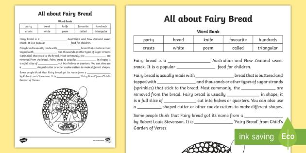 Fairy Bread Cloze Worksheet / Worksheet - Literacy, Australia ...