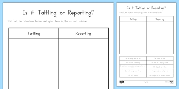is it tattling or reporting worksheet activity sheet. Black Bedroom Furniture Sets. Home Design Ideas