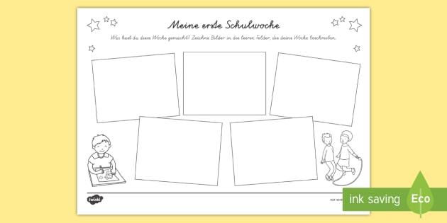 new meine erste schulwoche arbeitsblatt erster schultag. Black Bedroom Furniture Sets. Home Design Ideas
