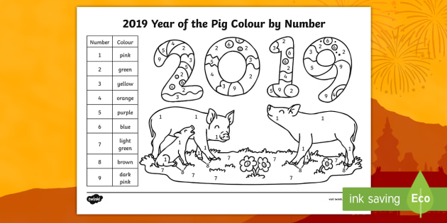 NEW Year of the Pig Colour by Number colour by scene