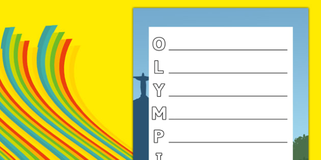 Rio Olympics 2016 Acrostic Poem - rio 2016, rio olympics, rio olympics 2016, 2016 olympics, acrostic poem