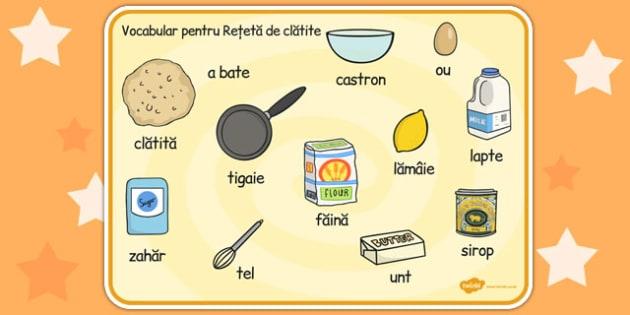 Reteta de clatite, plansa de cuvinte, postul Pastelui, Romanian