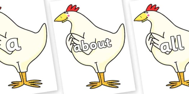 100 High Frequency Words on Hullabaloo Chicken to Support Teaching on Farmyard Hullabaloo - High frequency words, hfw, DfES Letters and Sounds, Letters and Sounds, display words