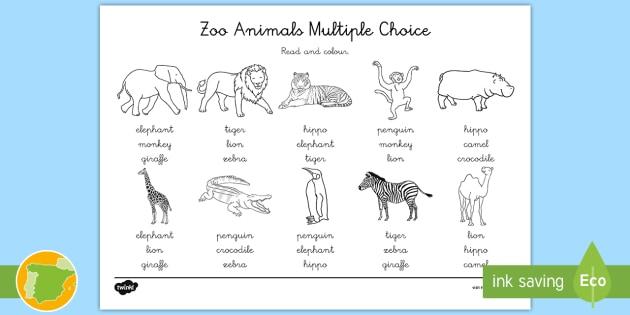 A1 Ficha De Actividad Lee Y Colorea Animales Del Zoo En Inglés