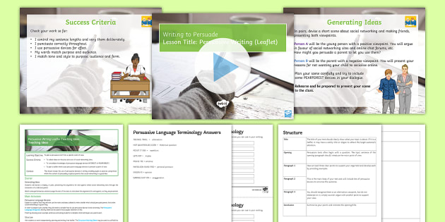 persuasive writing  leaflet  lesson pack