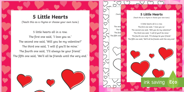 five little hearts finger actions rhyme - valentine's day, love, Ideas